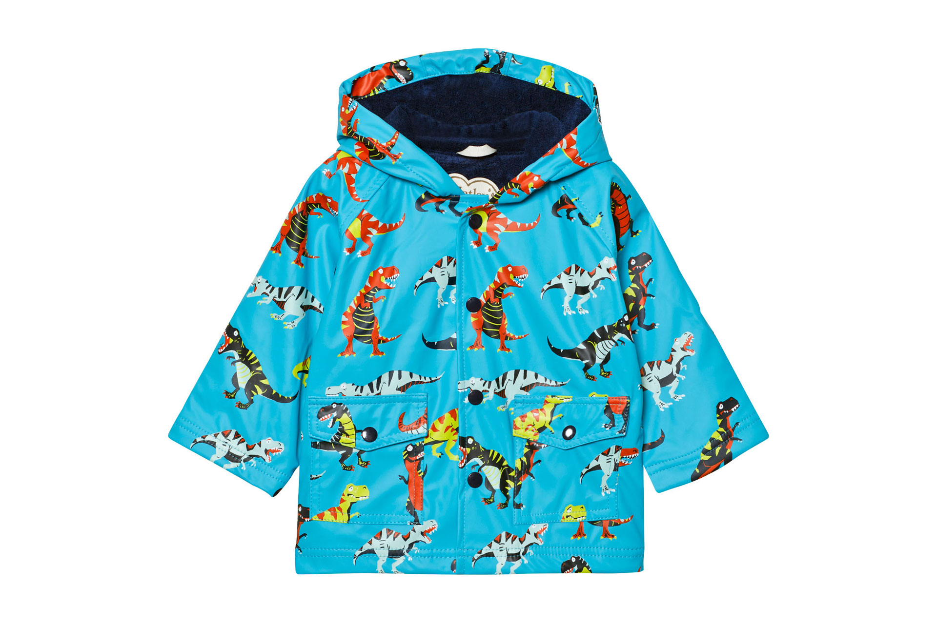 Hatley Blue Dinosaur Print Fleece Lined Raincoat