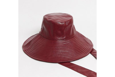& Other Stories faux leather tie-detail rain hat in burgundy